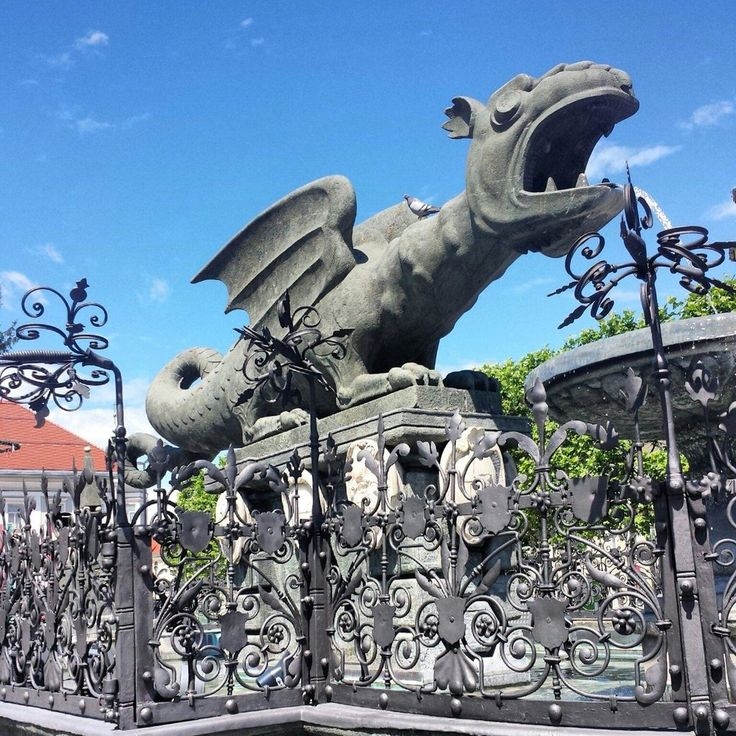 Lindwurmbrunnen (dragon fountain) - Klagenfurt, Austria. See thus thing pretty much every day and it's awesome.
