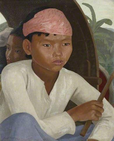 Ernest Procter - Burmese Boy In A Bullock Cart 1925