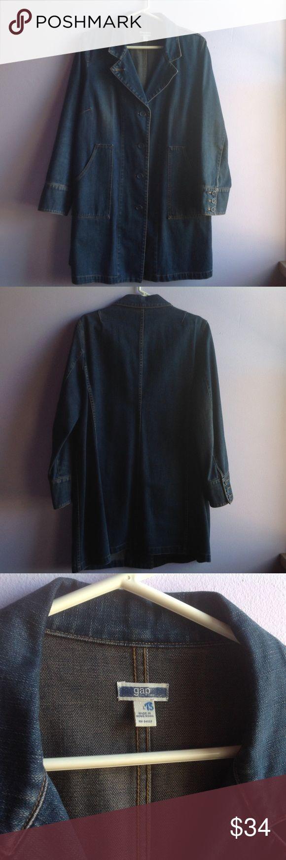 "Gap Denim Jacket (Denim Duster) Denim Jacket, tunic length (34"" from shoulder to bottom hem). A roomy size large. Smoke free home. GAP Jackets & Coats Jean Jackets"