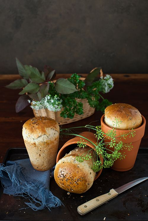 Garlic Bread with Fresh Herbs Baked in Flower Pots ...Note: To prepare and seal new clay flower pots, clean them thoroughly, oil them inside and outside and bake them three or four times. Preheat the oven to about 400F/200C and bake for 30-40 minutes. Try to do this while you are baking other foods. You need three flower pots 4 1/2 inch in diameter and 5 1/2 inch in high.