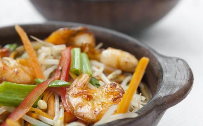 Camarones y verduras al disco