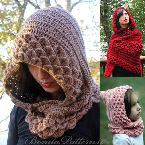 Crocodile Stitch Hoods And Hooded Capes - Purchased Crochet Patterns - (bonitapatterns)
