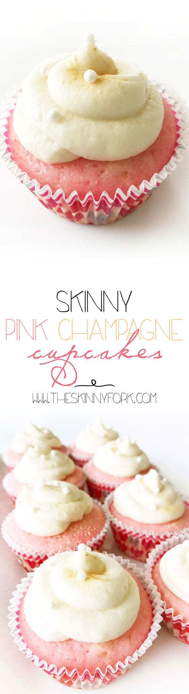 Skinny Pink Champagne Cupcakes! Just in time for Valentine's Day. These perfectly sweet and champagne infused cupcakes are just way cupid ordered for you and your valentine sweetheart. That's right. Champagne infused cupcakes AND frosting! TheSkinnyFork.com | Skinny & Healthy Recipes