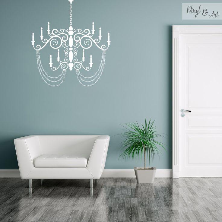Vinilo Adhesivo Decorativo Vintage - Lámpara Vintage. Lámpara de araña vintage. La lámpara de araña es un elemento de iluminación, que suele colgar del techo y que mediante el uso de fuentes de luz y elementos refractantes (principalmente de gemas,vidrio o plástico) contribuyen a crear un ambiente elegante. #vinilos #adhesivos #decorativos #vinylandart #arte #diseño #inspiracion #lampara #vintage www.vinylandart.com