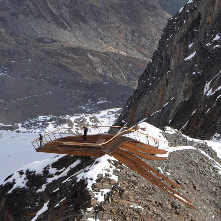 Constructed by helicopter, Top of Tyrol corten steel lookout platform offers a breath-taking 360 degree panoramic view of the Stubai glacier and the surrounding mountains | Austria Read more @ www.shapedscape.com/projects