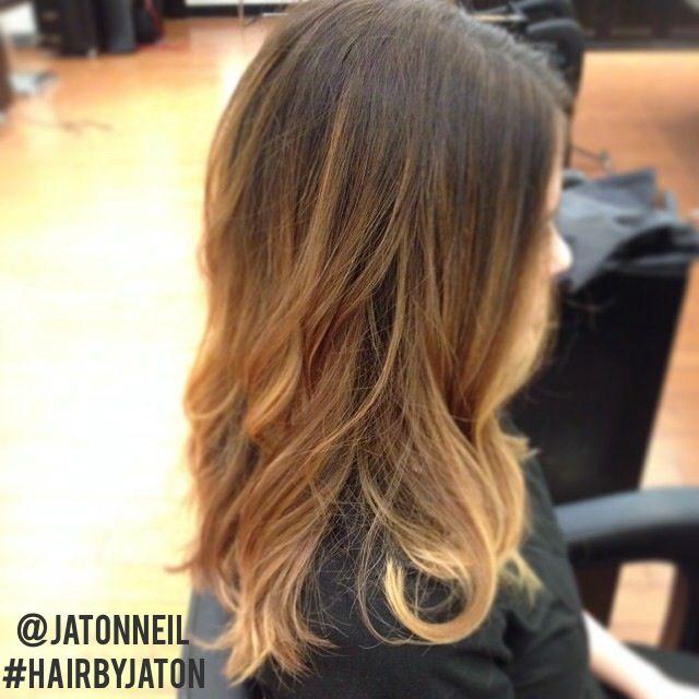 Shoulder-legnth dramatic blonde ombre for brunettes.
