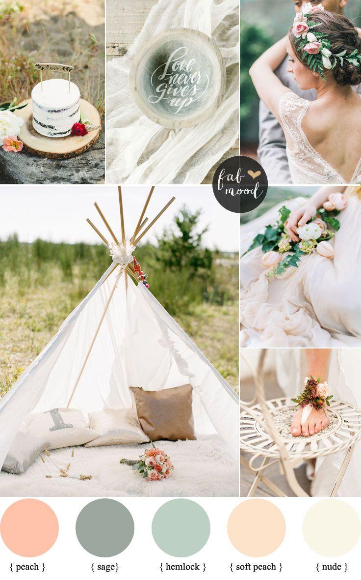 beach weddings in orange county ca%0A Bohemian Beach Wedding Palettte   Peach and Sage Colour Palette