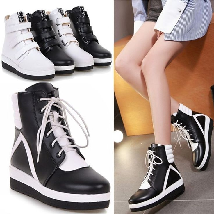 Ladies High Top Lace Up Ankle Boots Trainers Sneaker Flat Mid Heel Leather Shoes
