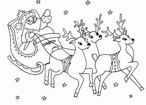 dessin de traineau,rennes,pere,noel,coloriage