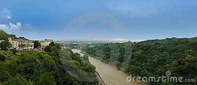 Panorama from Clifton suspension bridge in Bristol