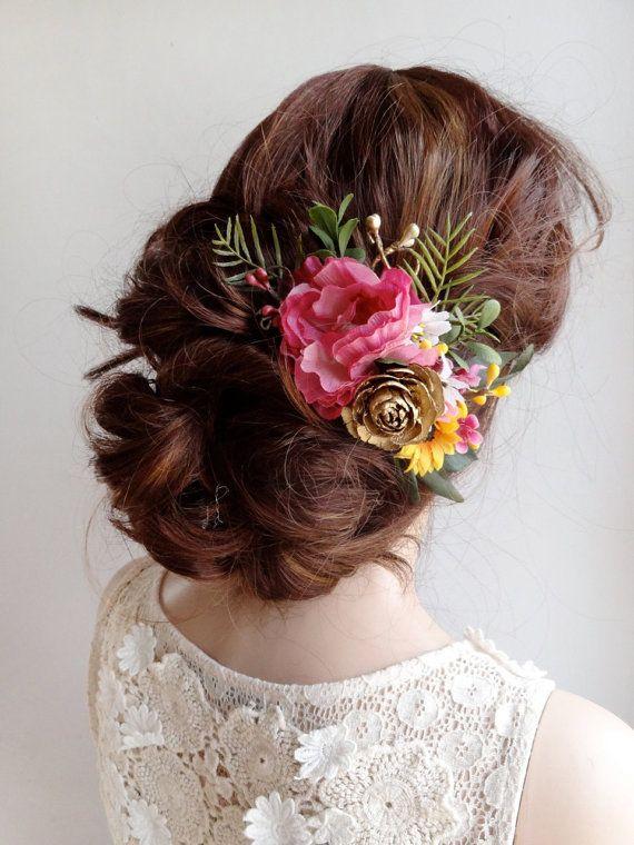 pettine floreale, parrucchino fiore sposa, copricapo da sposa, fermaglio per capelli fiore rosa, fiore capelli rosa caldo, accessori per capelli sposa rustico