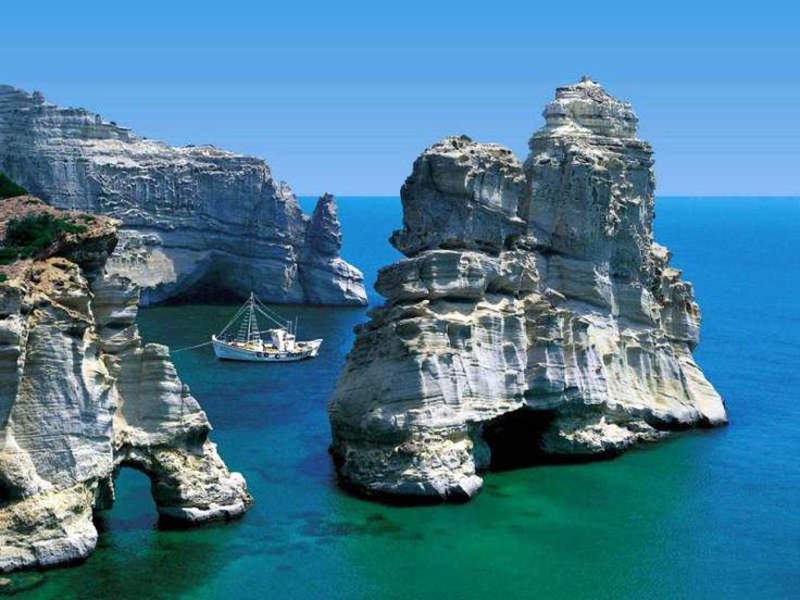 greece: Bucketlist, Buckets Lists, Mykonos, Milo Greece, Beautiful Places, Caves, Boats, Greek Islands, Greek Isle