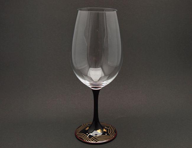 山久漆工 JAPAN Glass(赤ワイングラス/溜漆 波千鳥蒔絵)