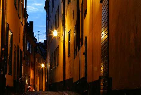 Улицы Стокгольм - Швеция ночью