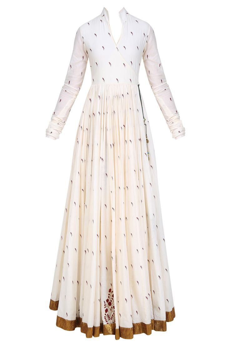 natasha j mughal white angrakha style floor length anarkali kurta in cotton mul base with printed parrot motifs all over and knotted tie up detailing with tassel hangings on the side