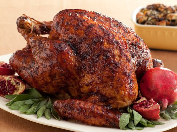 Bobby's Black Pepper-Pomegranate Molasses Glazed Turkey : Spice up your Thanksgiving with Bobby Flay's flavorful, Throwdown-worthy turkey.