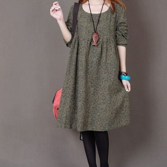 Yellow Floral Print cotton dress long sleeve dress linen dress casual cotton shirt maternity dress large dress cotton blouse plus size dress