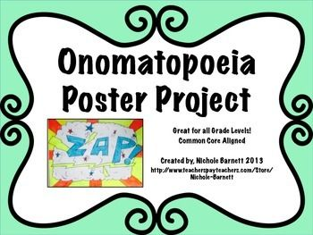 This is a fun, interactive way to get your students to learn and remember what onomatopoeia means.     After teaching my students the definition, the purpose of using an Onomatopoeia and locating them in poems and books, I had them complete this project.
