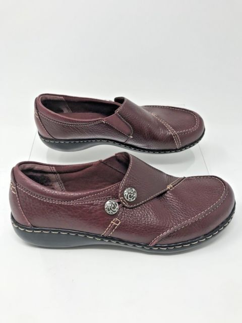 356fea5cd68 CLARKS Bendables  61628 Brown Leather Slip on Loafers Women s Shoe Size  8.5M