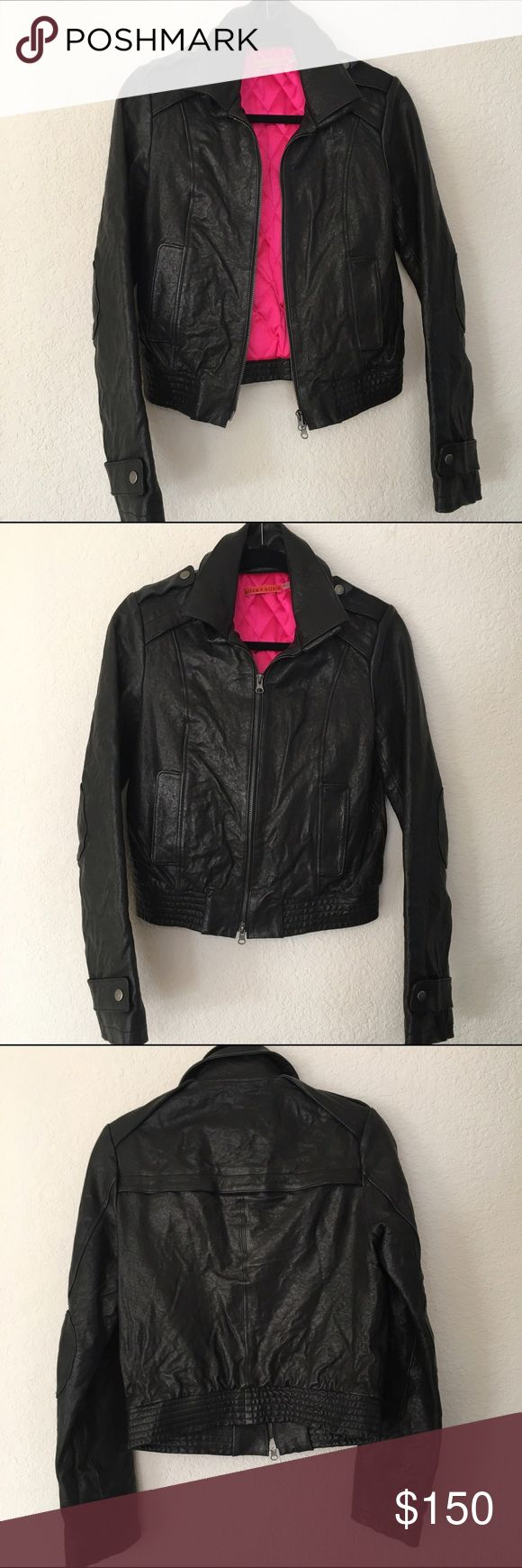 Alice + Olivia Motorcycle Jacket leather Beautiful Alice + Olivia leather Motorcycle jacket. Cute pink satin lining. Only worn a handful of times. No flaws. I live in Southern California, and it never gets cold enough for me to wear this. Alice + Olivia Jackets & Coats