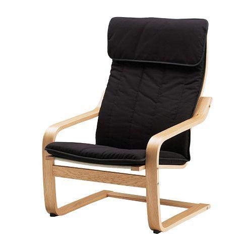IKEA - POÄNG, Stol, Ransta sort, , Lamellimet og formspændt eg giver god fleksibilitet.Betrækket er nemt at holde rent, fordi det kan tages af og maskinvaskes.Hvis du vil sidde bedre og endnu mere afslappet, kan du bruge lænestolen med POÄNG fodskammel.Et sortiment af forskellige siddehynder gør det nemt at ændre udtryk på POÄNG og i din stue.Den høje ryg gi'r god støtte til nakken.10 års garanti. Læs betingelserne i garantifolderen.