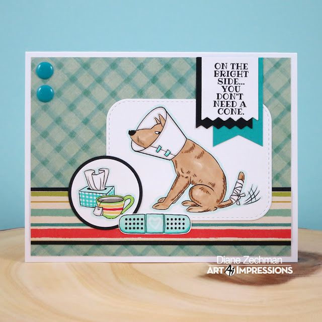 Art Impressions DOGGY KISSES SET: AiCS38 ... clear stamps set. Handmade get well card.