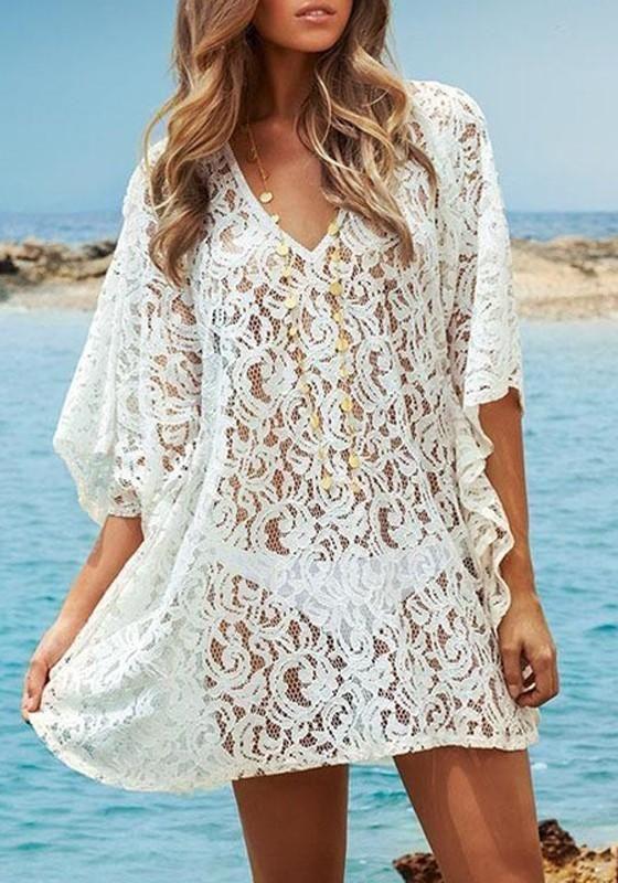 4ded4d81f84 Available Sizes :S/M/L Bust(cm) :140cm Length(cm) :71cm Type :Loose  Material :Cotton Blend Color :White Decoration :Lace Pattern :Plain Collar  :Collarless ...