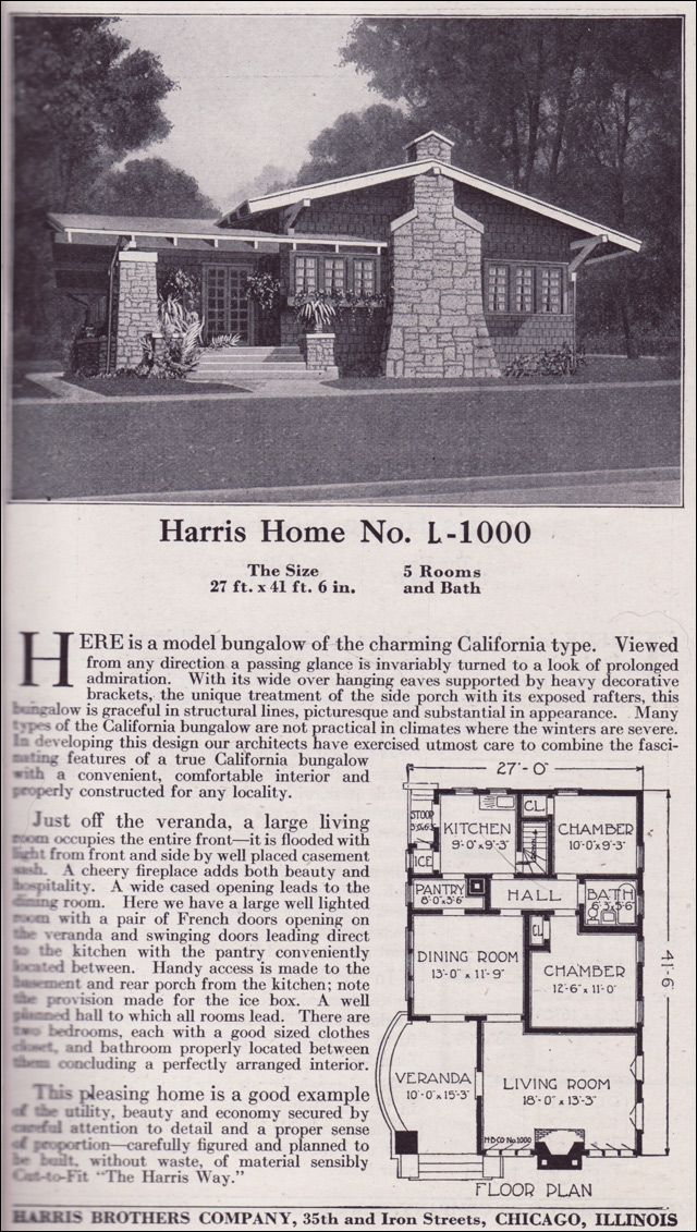 """1918 Bungalow.   Notice access from kitchen to the """"icebox"""" on the back porch..."""