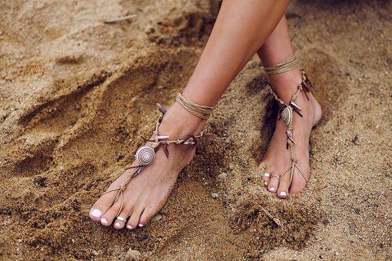 Barfuss Sandalen. amerikanischer Ureinwohner.  Boho von SoftCrystal
