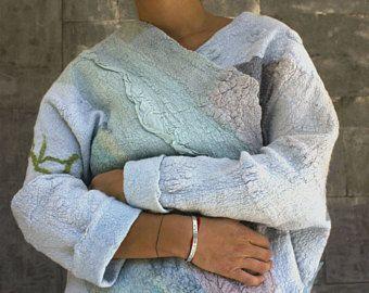Women coat, felted jacket,felted coat, Hand made clothing, Variegated, Wearable art, Nuno felted, Designer, Eco-fashion, Wool Coat
