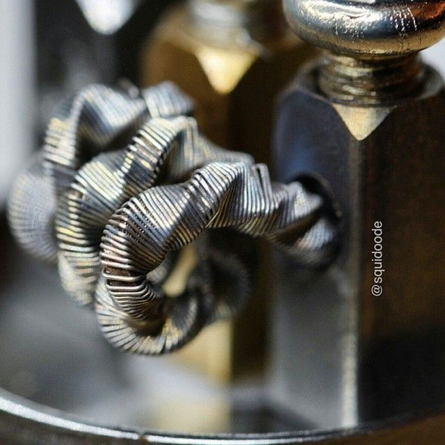 Staple Coil by @squidoode  Friggen stacked ribbon wire wrapped in 36g and twisted! This is the craziest coil I've seen all year hands down :) The man @squidoode is ascending to another level, hopefully he won't leave us all behind lol, check his page for more pics and stats  #coilporn #coilart #vapeporn #vapelyfe #calivapers #driplyfe #dripclub #twistedmesses #coilsanonymous #buildporn #buildlyfe #teamsinglecoil #vapehappy #ribbonwire #staplecoil #Padgram