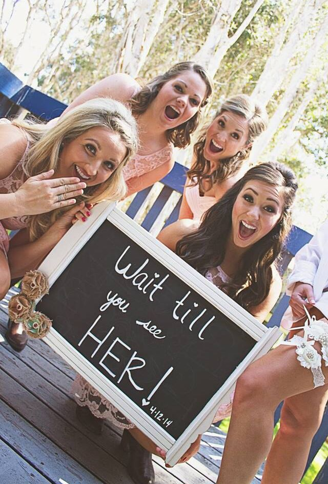"Fun bridal party photos - text ""wait till you see her"" to the groom before he sees the bride :)"