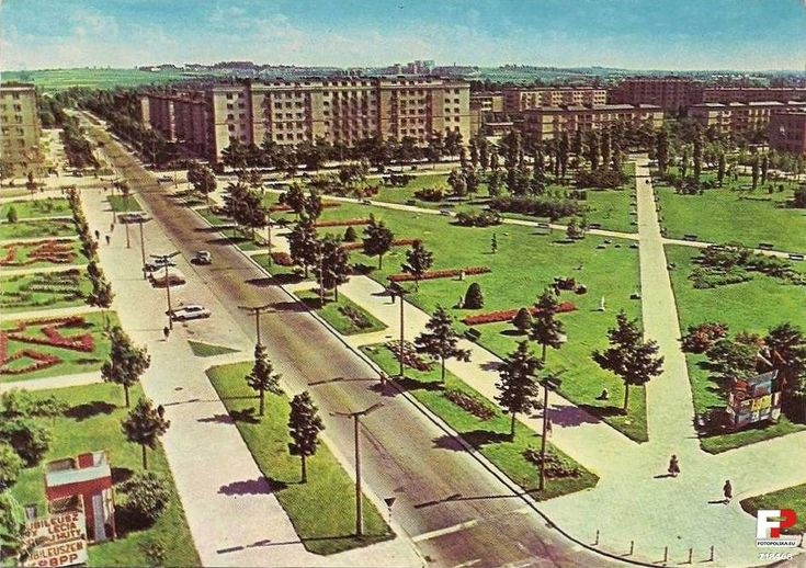 District XVIII Nowa Huta (Mound, Pleszów, Branice, Krzesławice), Krakow - 1959 years, old photos. Nowa Huta - housing Solar - avenue of Roses square now occupied by City Hall park above street Rydz-Rydz.