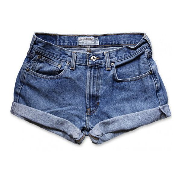 Vintage 90s Abercrombie & Fitch Medium Faded Blue Wash Mid-High... ($20) ❤ liked on Polyvore featuring shorts, bottoms, pants, denim shorts, cuffed jean shorts, high-rise shorts, high-waisted denim shorts, vintage high waisted shorts and high-waisted shorts