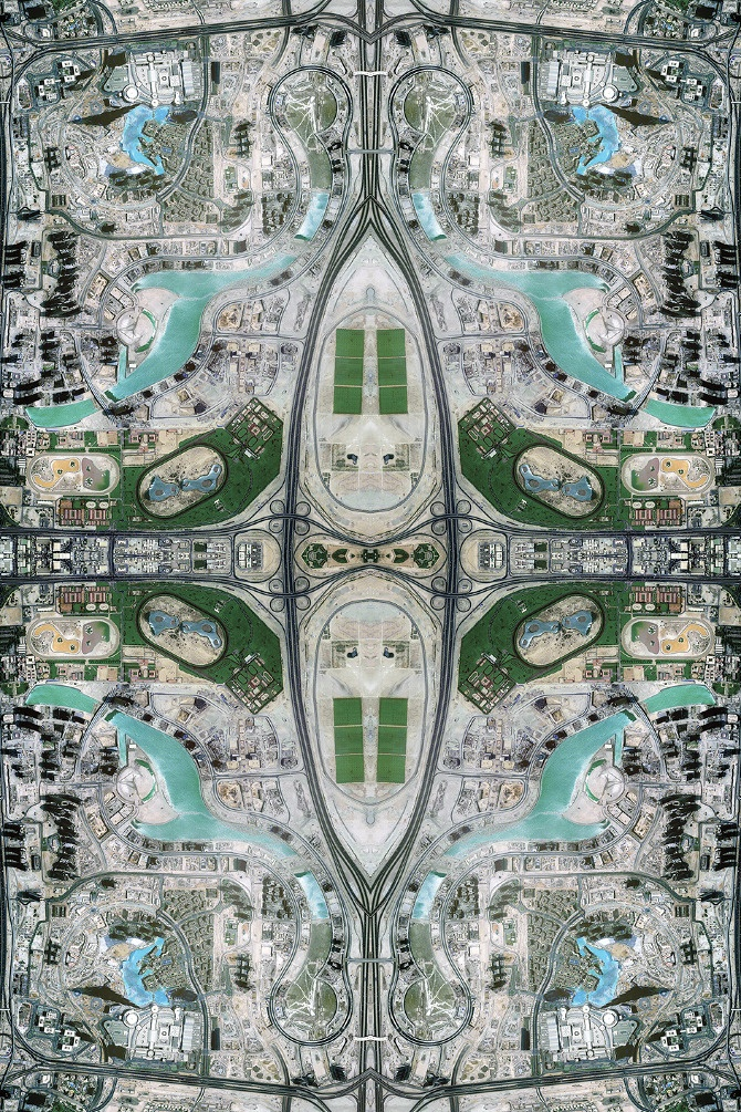Dubai. ANTHROPOCENE - David Thomas Smith. 6' x 4' satellite images were composited together, then recreated in Photoshop pixel-by-pixel to create these pieces, some of which are printed textiles.