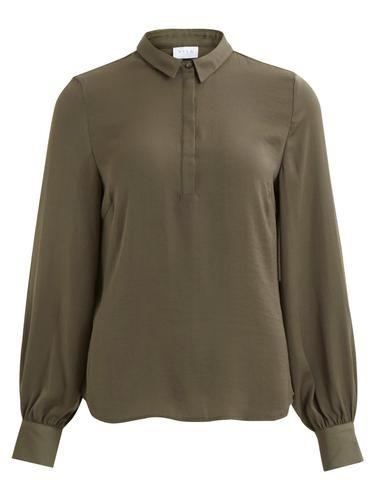 - Stylename: VIMELLI TOP - Schlichte Bluse - Dünnes, glattes Material - Verdeckte Knopfleiste vorn - Lange Ärmel mit Knöpfen am Abschluss - Länge: 64 cm in Größe M - Armlänge: 67 cm - Unser Model ist 178 cm groß und trägt Größe M