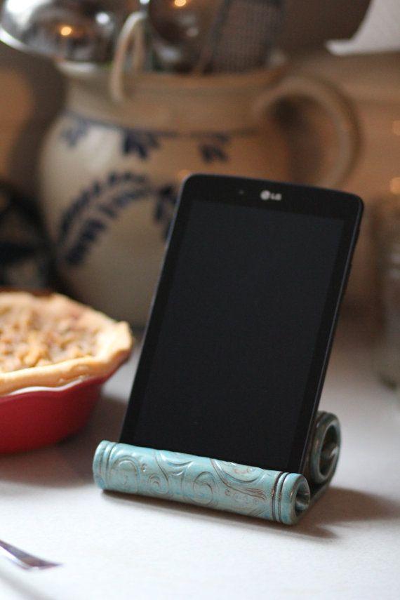 Ceramic IPad Holder/Stand/Kitchen/Tablet/Phone by elsakstudios                                                                                                                                                                                 More