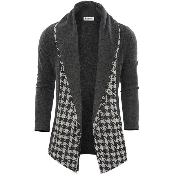 Tom's Ware Mens Classic Fashion Marled Open-Front Shawl Collar... ($30) ❤ liked on Polyvore featuring men's fashion, men's clothing, men's sweaters, mens shawl collar sweater, mens sweaters, mens marled sweater, mens shawl collar cardigan sweater and mens cardigan sweater