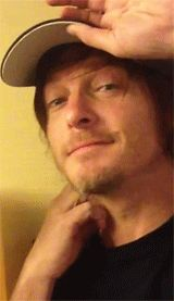 Norman Reedus kissy face is just the cutest of all cuteness.