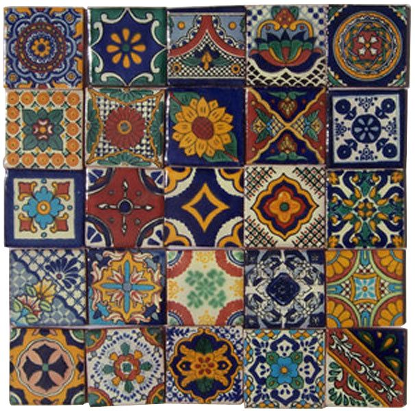 """25 Hand Painted Talavera Mexican Tiles 2""""x2"""""""