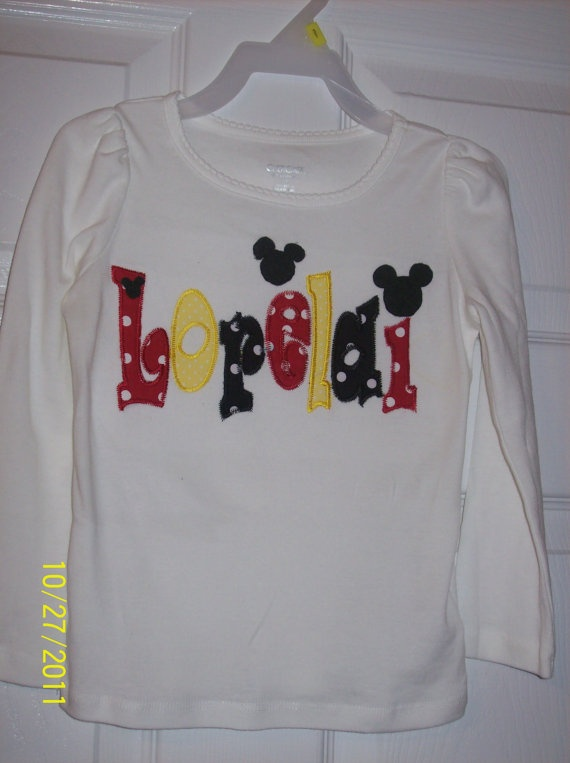 Shirt with Disney appliqued name