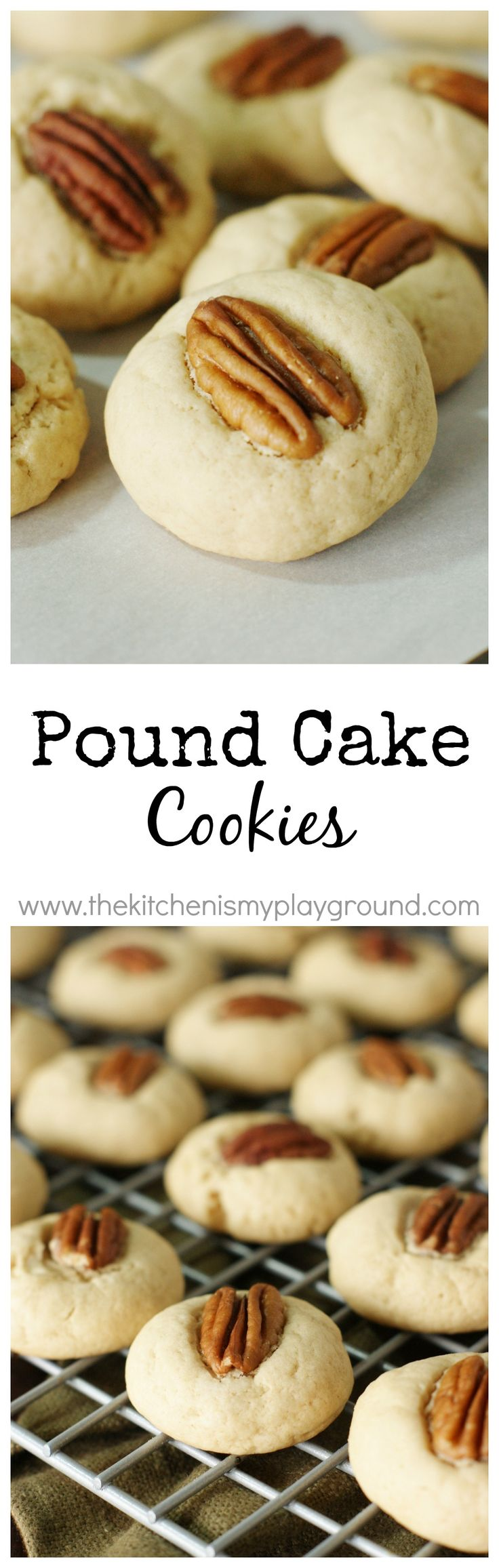 Pound Cake Cookies ~ Enjoy the tender texture & flavor of cream cheese pound cake in bite-sized form with these tasty little cookies! www.thekitchenismyplayground.com
