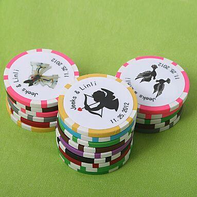 Livraison Gratuite 100 pcs Personnalisé Faveurs Et Cadeaux Poker Puce De Mariage Cadeaux Pour Les Invités De Mariage Souvenirs(China (Mainland))