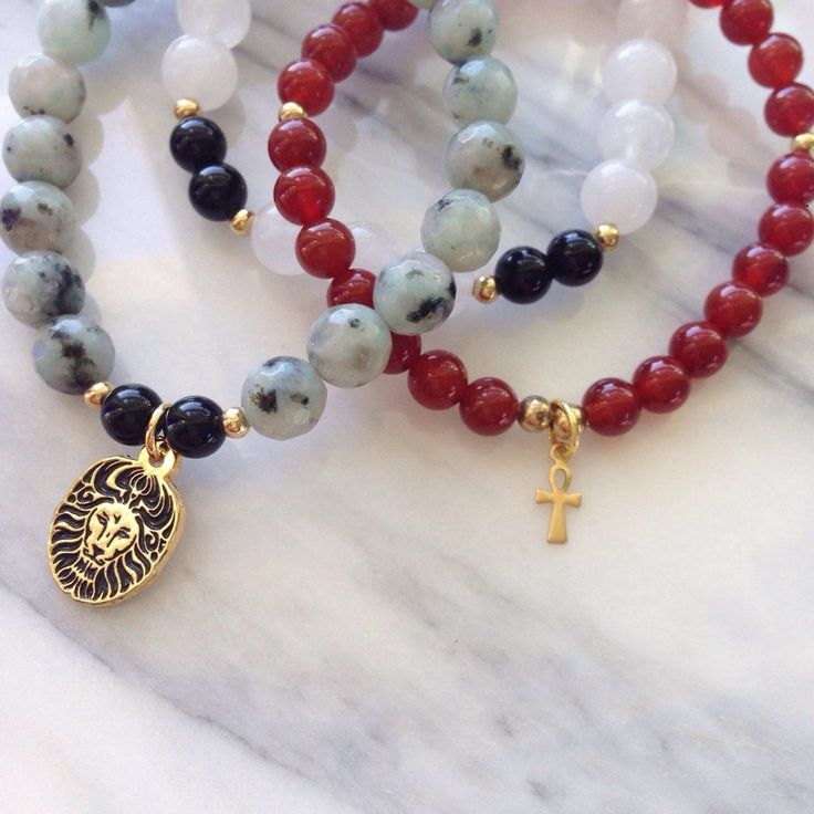 """Beautiful Carnelian, Lotus Jasper and White Jade """"Leadership"""" Lionheart Bracelet Stack by #MikaMalaPride. This bracelet stack is inspired by Goddess Isis, feminine archetype for creation. She is the goddess of fertility and motherhood."""