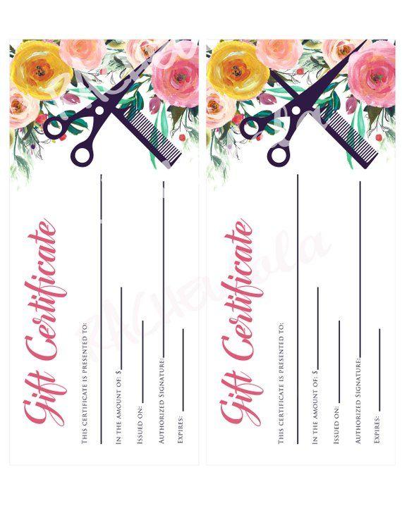 Printable Hair Salon Gift Certificate Template Hair Stylist Etsy Gift Certificate Template Printable Gift Certificate Salon Gifts