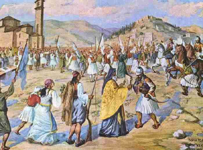 23 March 1821. Petrompeis Mavromichales, Kolokotronis, Papaflessas liberate the city of Kalamata