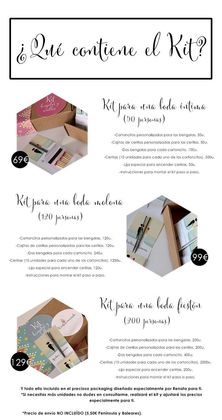 Kit de Bengalas y cerillas handmade y personalizado creado por Renata para ti para que tu boda brille de verdad.
