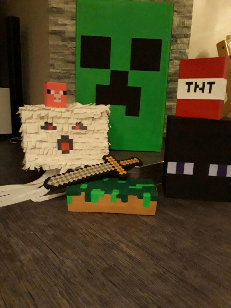 Cardboard diy Minecraft birthday decorations