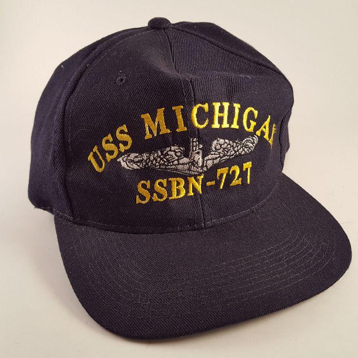 VINTAGE MILITARY NAVY HAT CAP SNAP BACK USS MICHIGAN SSBN-727 NUCLEAR SUBMARINE