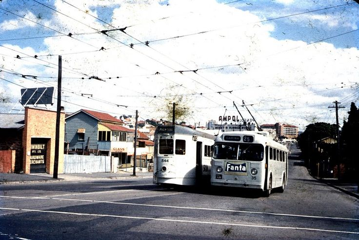 Brisbane Trolley Buses and Trams - I miss them and these are the ones I used - the Balmoral tram and the Carina Trolley Bus (after I was married). And I recognise the Gabba and the Mater Hospital in the background.  Wow, just wow!!